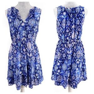 Rebecca Taylor Silk Blue Pattern Dress Size Small